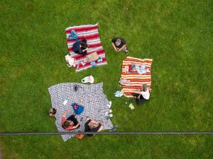 Birdseye view of a family picnic. Wichita, a home to dozen of parks, is one of the 4 Texas cities that are great for seniors